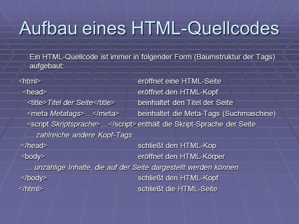 Aufbau eines HTML-Quellcodes Ein HTML-Quellcode ist immer in folgender Form (Baumstruktur der Tags) aufgebaut: eröffnet eine HTML-Seite eröffnet eine HTML-Seite eröffnet den HTML-Kopf eröffnet den HTML-Kopf Titel der Seite beinhaltet den Titel der Seite Titel der Seite beinhaltet den Titel der Seite … beinhaltet die Meta-Tags (Suchmaschine) … beinhaltet die Meta-Tags (Suchmaschine) … enthält die Skript-Sprache der Seite … enthält die Skript-Sprache der Seite … zahlreiche andere Kopf-Tags … zahlreiche andere Kopf-Tags schließt den HTML-Kop schließt den HTML-Kop eröffnet den HTML-Körper eröffnet den HTML-Körper … unzählige Inhalte, die auf der Seite dargestellt werden können … unzählige Inhalte, die auf der Seite dargestellt werden können schließt den HTML-Kopf schließt den HTML-Kopf schließt die HTML-Seite schließt die HTML-Seite