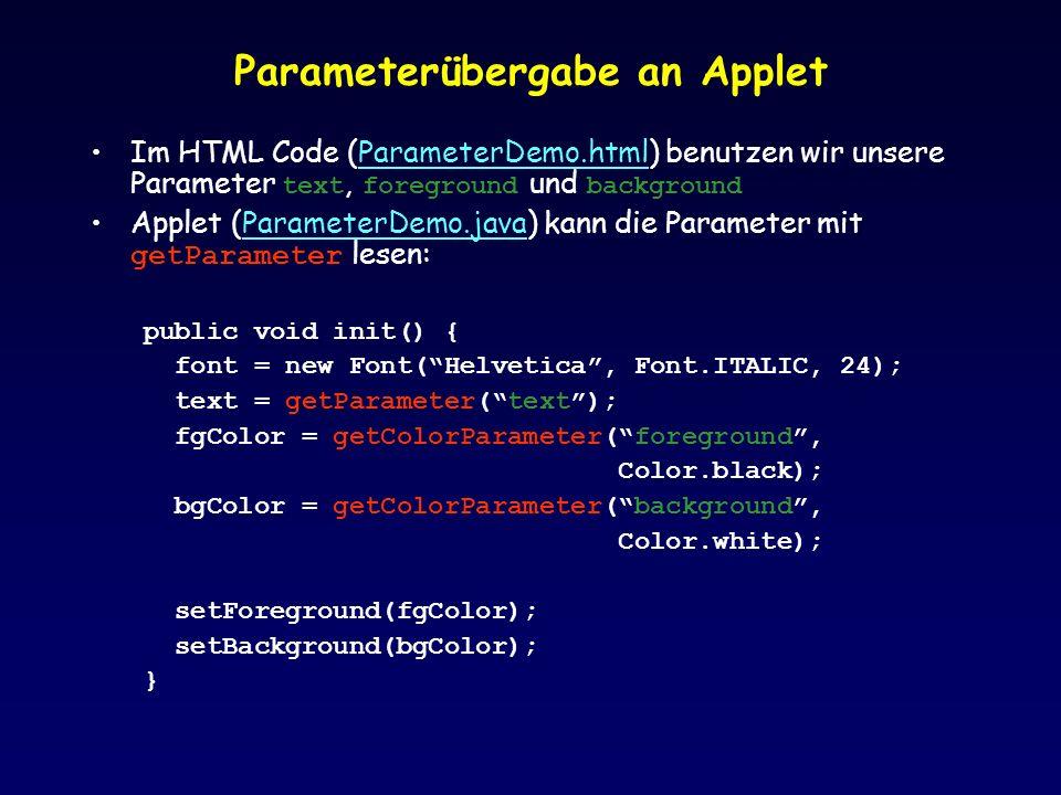 Parameterübergabe an Applet Im HTML Code (ParameterDemo.html) benutzen wir unsere Parameter text, foreground und backgroundParameterDemo.html Applet (ParameterDemo.java) kann die Parameter mit getParameter lesen:ParameterDemo.java public void init() { font = new Font(Helvetica, Font.ITALIC, 24); text = getParameter(text); fgColor = getColorParameter(foreground, Color.black); bgColor = getColorParameter(background, Color.white); setForeground(fgColor); setBackground(bgColor); }