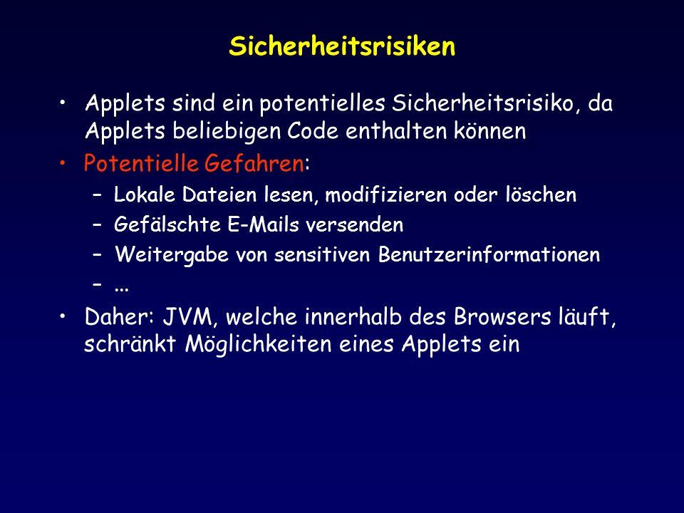 Sicherheitsrisiken Applets sind ein potentielles Sicherheitsrisiko, da Applets beliebigen Code enthalten können Potentielle Gefahren: –Lokale Dateien lesen, modifizieren oder löschen –Gefälschte E-Mails versenden –Weitergabe von sensitiven Benutzerinformationen –...