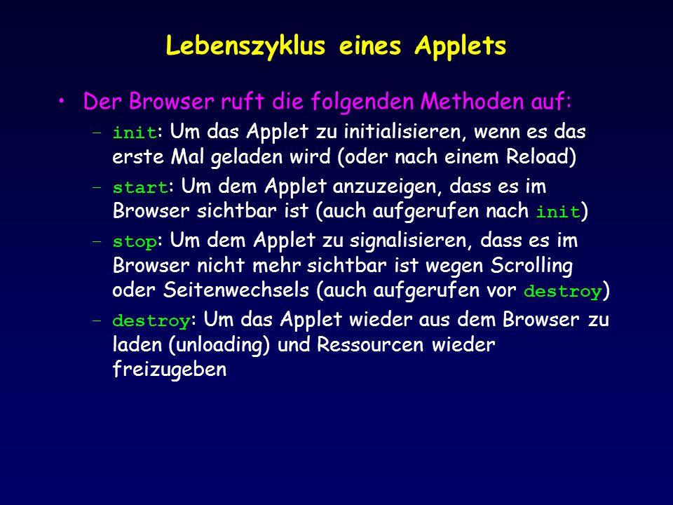 Lebenszyklus eines Applets Der Browser ruft die folgenden Methoden auf: –init : Um das Applet zu initialisieren, wenn es das erste Mal geladen wird (oder nach einem Reload) –start : Um dem Applet anzuzeigen, dass es im Browser sichtbar ist (auch aufgerufen nach init ) –stop : Um dem Applet zu signalisieren, dass es im Browser nicht mehr sichtbar ist wegen Scrolling oder Seitenwechsels (auch aufgerufen vor destroy ) –destroy : Um das Applet wieder aus dem Browser zu laden (unloading) und Ressourcen wieder freizugeben