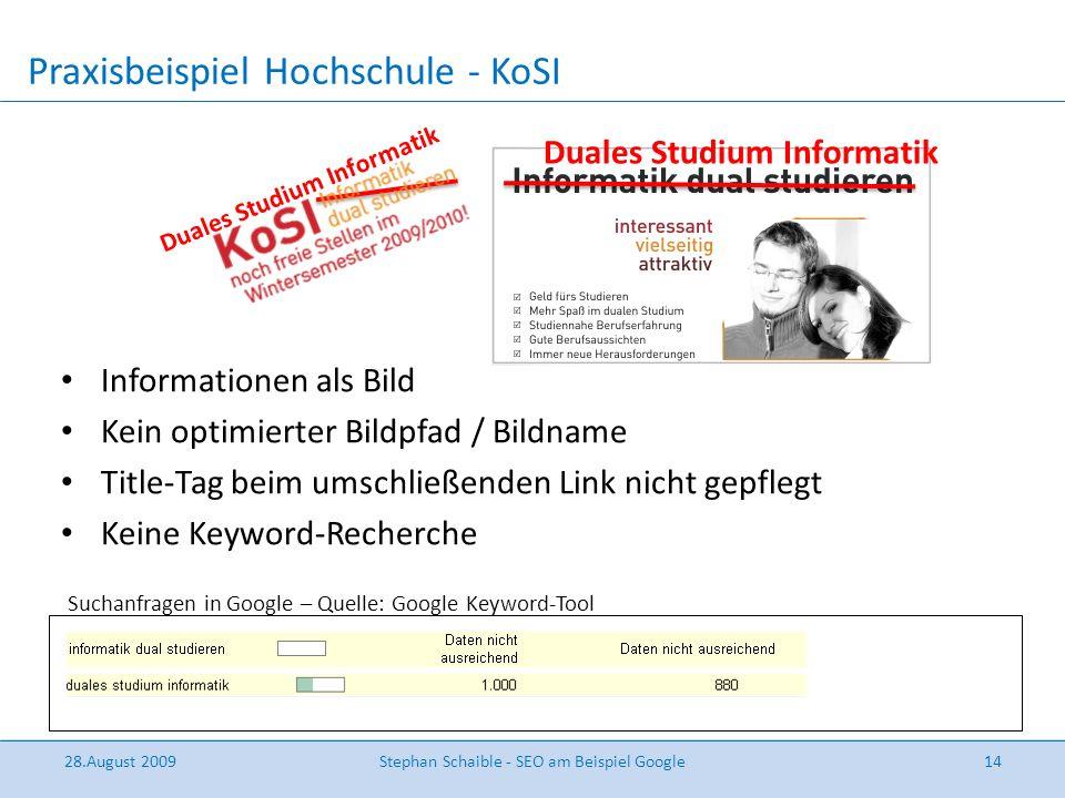 Praxisbeispiel Hochschule - KoSI Informationen als Bild Kein optimierter Bildpfad / Bildname Title-Tag beim umschließenden Link nicht gepflegt Keine K