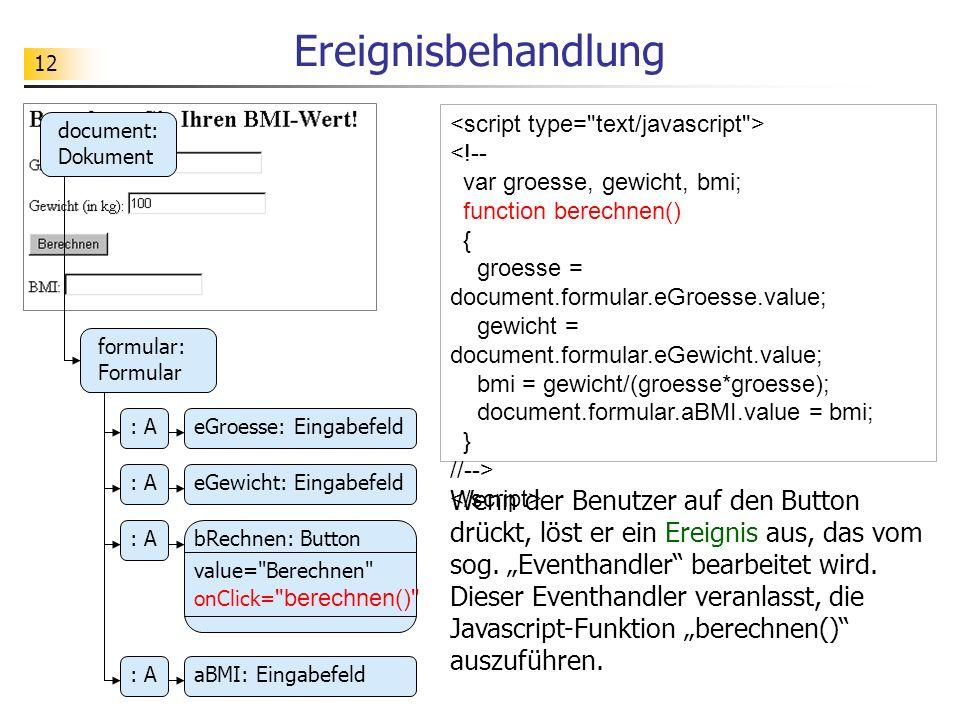 12 Ereignisbehandlung document: Dokument formular: Formular : AeGroesse: Eingabefeld bRechnen: Button : AeGewicht: Eingabefeld : A value=