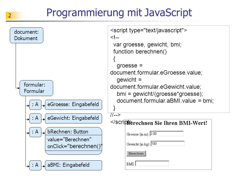 2 Programmierung mit JavaScript document: Dokument formular: Formular : AeGroesse: Eingabefeld bRechnen: Button : AeGewicht: Eingabefeld : A value=