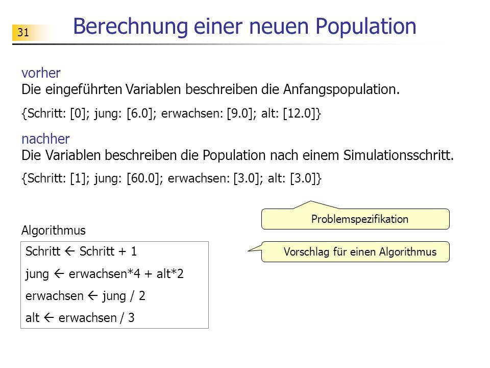 31 Berechnung einer neuen Population vorher Die eingeführten Variablen beschreiben die Anfangspopulation. {Schritt: [0]; jung: [6.0]; erwachsen: [9.0]