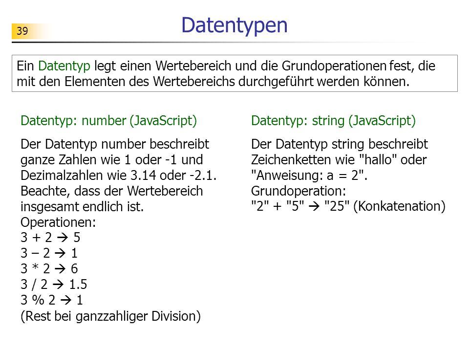39 Datentypen Ein Datentyp legt einen Wertebereich und die Grundoperationen fest, die mit den Elementen des Wertebereichs durchgeführt werden können.