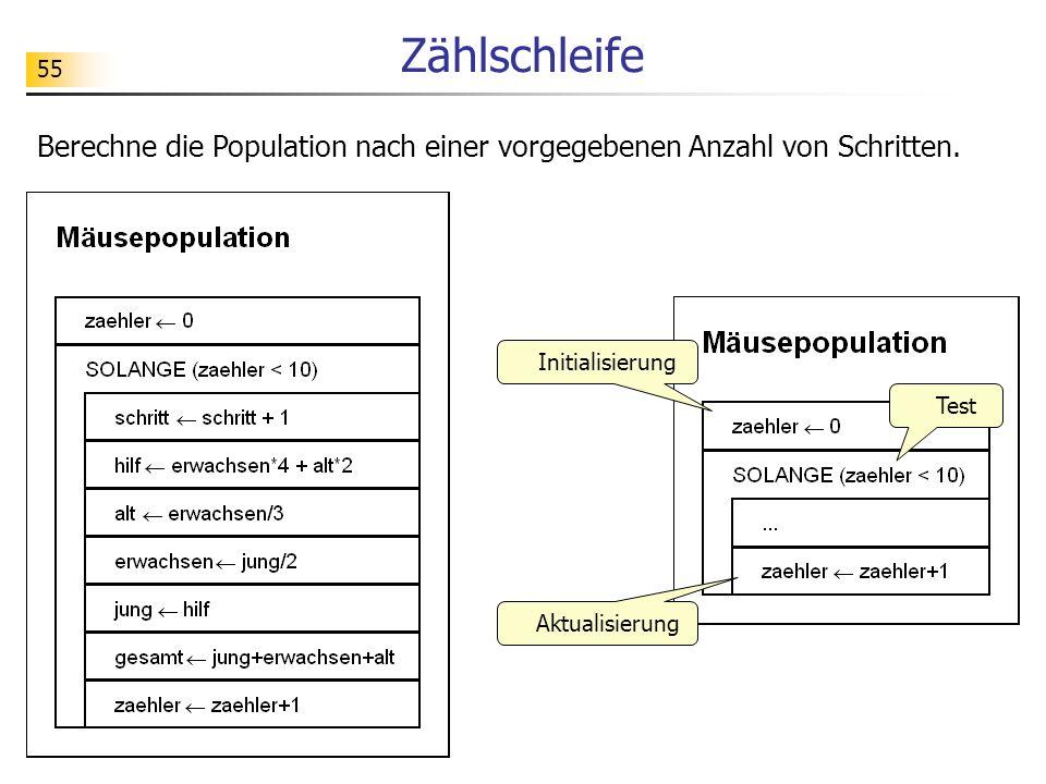 55 Zählschleife Initialisierung Test Aktualisierung Berechne die Population nach einer vorgegebenen Anzahl von Schritten.