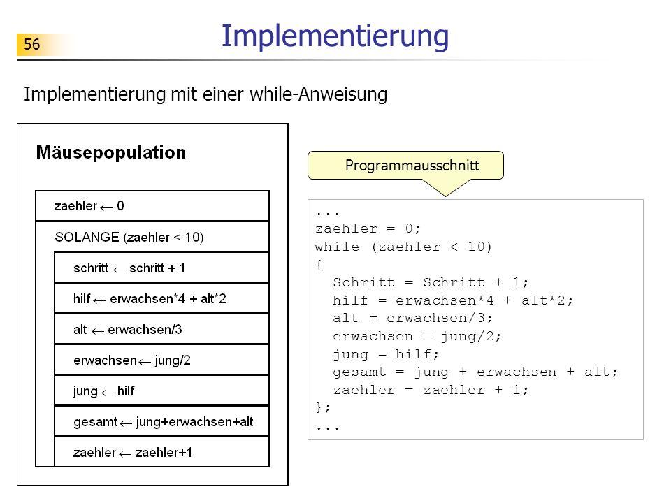 56 Implementierung... zaehler = 0; while (zaehler < 10) { Schritt = Schritt + 1; hilf = erwachsen*4 + alt*2; alt = erwachsen/3; erwachsen = jung/2; ju