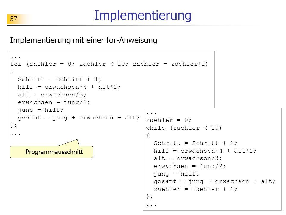 57 Implementierung... for (zaehler = 0; zaehler < 10; zaehler = zaehler+1) { Schritt = Schritt + 1; hilf = erwachsen*4 + alt*2; alt = erwachsen/3; erw