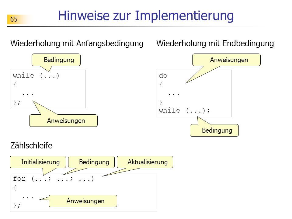 65 Hinweise zur Implementierung Wiederholung mit Anfangsbedingung while (...) {... }; Anweisungen Bedingung Wiederholung mit Endbedingung do {... } wh