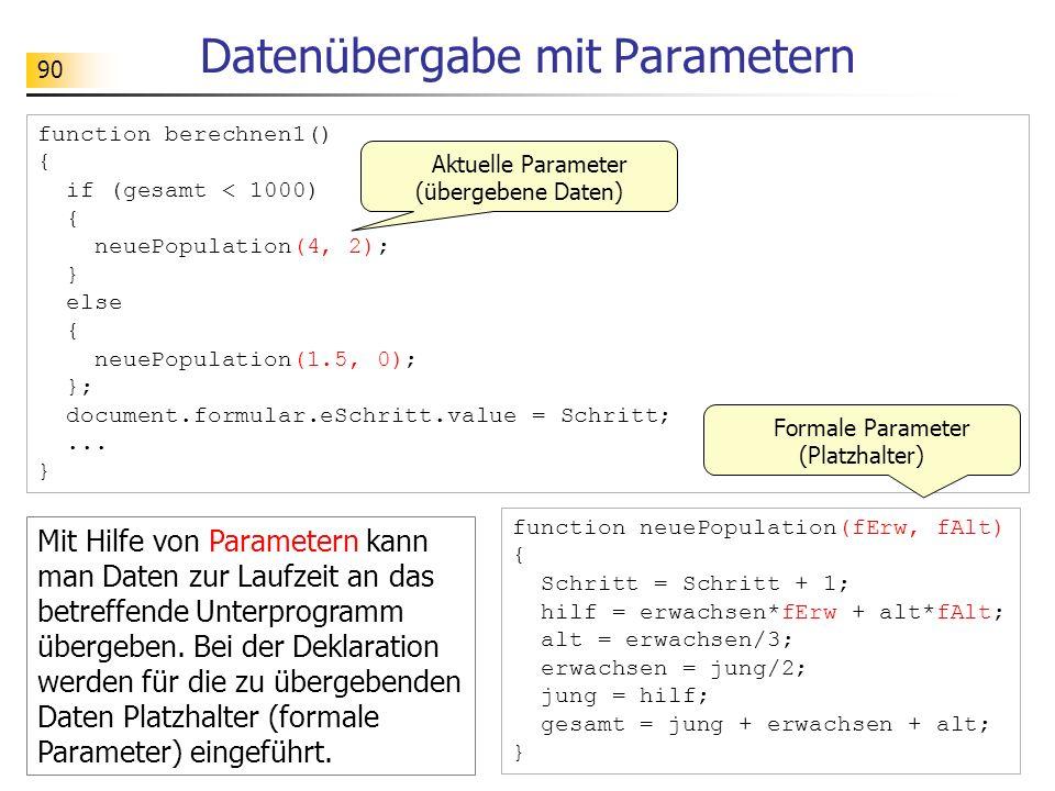 90 Datenübergabe mit Parametern function berechnen1() { if (gesamt < 1000) { neuePopulation(4, 2); } else { neuePopulation(1.5, 0); }; document.formul