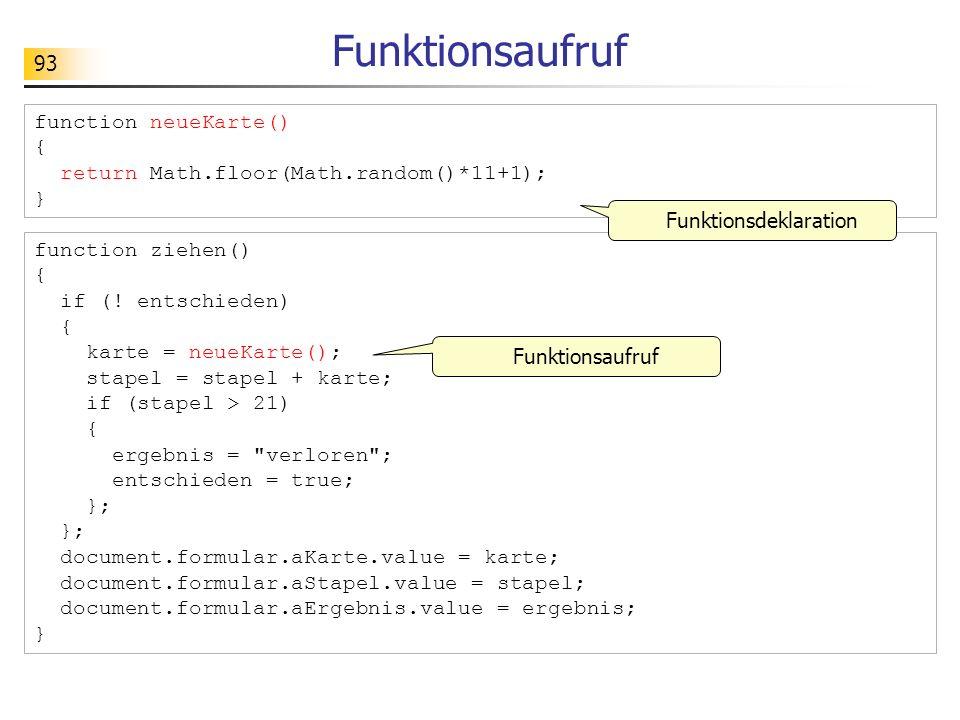93 Funktionsaufruf function ziehen() { if (! entschieden) { karte = neueKarte(); stapel = stapel + karte; if (stapel > 21) { ergebnis =