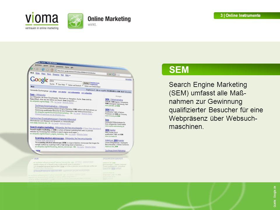 SEM Search Engine Marketing (SEM) umfasst alle Maß- nahmen zur Gewinnung qualifizierter Besucher für eine Webpräsenz über Websuch- maschinen.