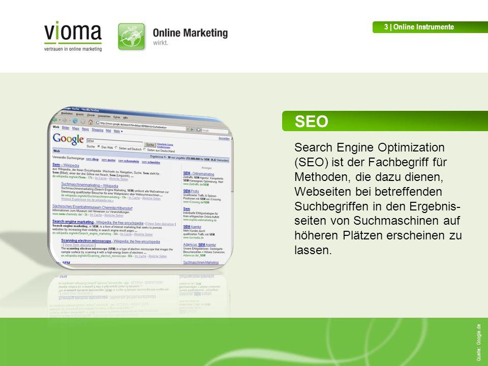 SEO Search Engine Optimization (SEO) ist der Fachbegriff für Methoden, die dazu dienen, Webseiten bei betreffenden Suchbegriffen in den Ergebnis- seiten von Suchmaschinen auf höheren Plätzen erscheinen zu lassen.