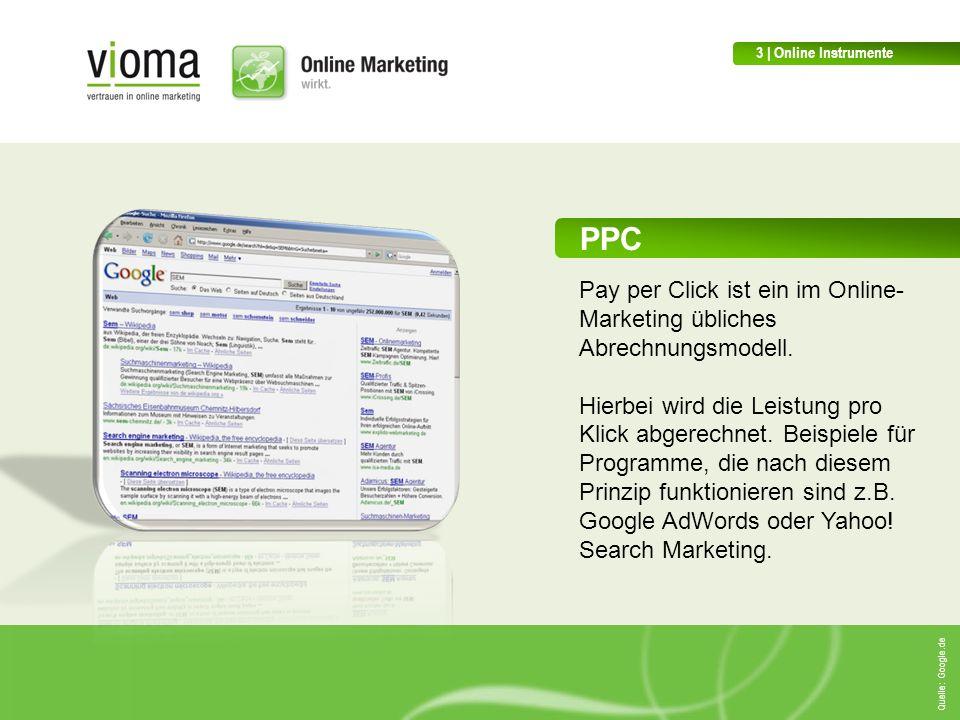 PPC Pay per Click ist ein im Online- Marketing übliches Abrechnungsmodell.
