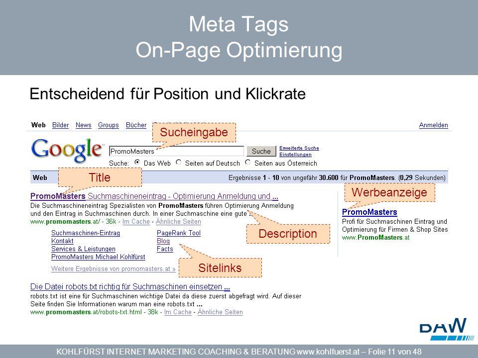 KOHLFÜRST INTERNET MARKETING COACHING & BERATUNG www.kohlfuerst.at – Folie 11 von 48 Meta Tags On-Page Optimierung Entscheidend für Position und Klickrate Sucheingabe Werbeanzeige Title Description Sitelinks