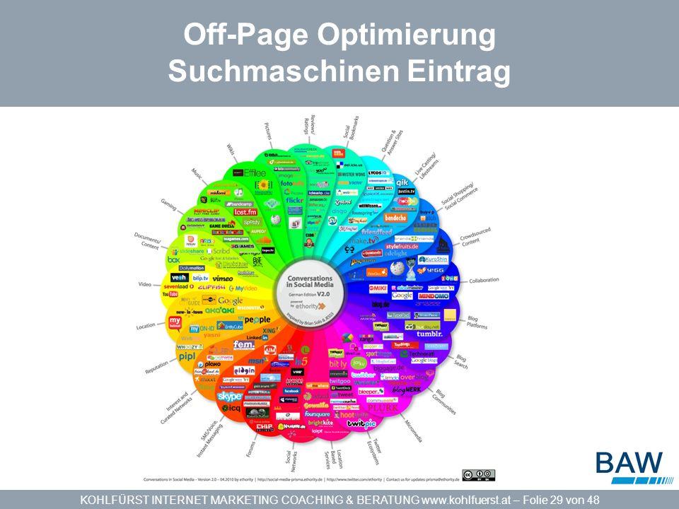 KOHLFÜRST INTERNET MARKETING COACHING & BERATUNG www.kohlfuerst.at – Folie 29 von 48 Off-Page Optimierung Suchmaschinen Eintrag