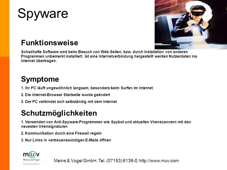 Meins & Vogel GmbH, Tel. (07153) 6136-0, http://www.muv.com Spyware Funktionsweise Schadhafte Software wird beim Besuch von Web-Seiten, bzw. durch Ins