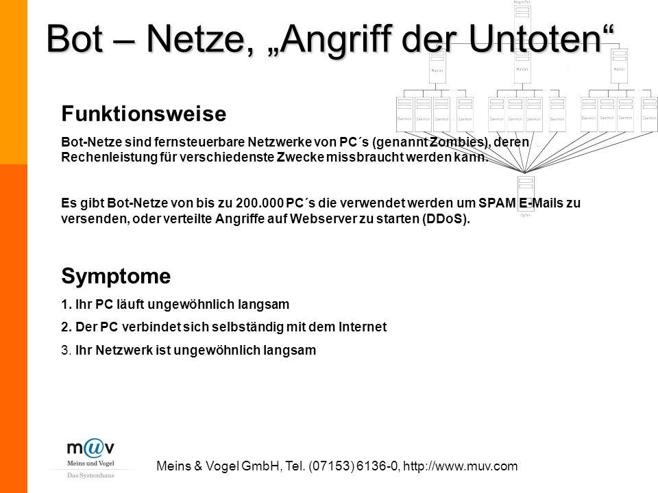 Meins & Vogel GmbH, Tel. (07153) 6136-0, http://www.muv.com Funktionsweise Bot-Netze sind fernsteuerbare Netzwerke von PC´s (genannt Zombies), deren R