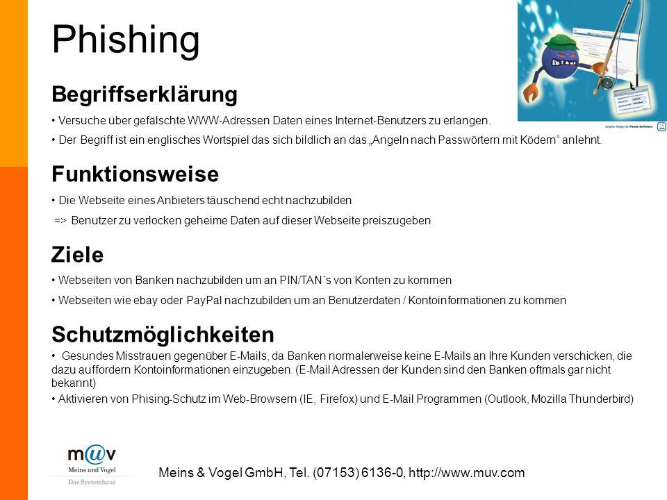Meins & Vogel GmbH, Tel. (07153) 6136-0, http://www.muv.com Phishing Begriffserklärung Versuche über gefälschte WWW-Adressen Daten eines Internet-Benu
