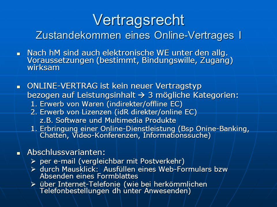 Vertragsrecht Zustandekommen eines Online-Vertrages I Nach hM sind auch elektronische WE unter den allg. Voraussetzungen (bestimmt, Bindungswille, Zug