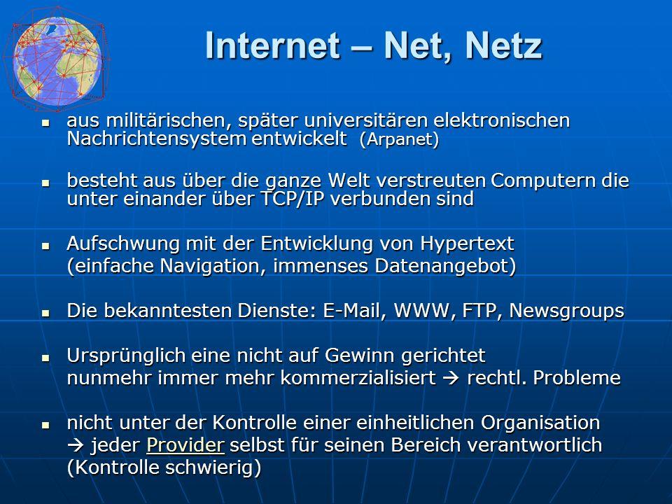Das Netz – einige Zahlen Ende 2000 94.265.900 ständig verbundene und mehr als 380 Millionen zeitweise angeschlossene Computer (Internetzugänge) Ende 2000 94.265.900 ständig verbundene und mehr als 380 Millionen zeitweise angeschlossene Computer (Internetzugänge) Zuwachsraten von über 30 Prozent pro Jahr in den letzten Jahren Zuwachsraten von über 30 Prozent pro Jahr in den letzten Jahren Ende 2002 hat die Internet-Nutzungsrate in Österreich die 50-Prozent-Marke erreicht Ende 2002 hat die Internet-Nutzungsrate in Österreich die 50-Prozent-Marke erreicht Zur Entwicklung in Österreich: 10 Jahre Internet in Österreich, von Peter Rastl: Artikel in Comment Artikel in CommentArtikel in Comment Umsatz des E-Business soll bis 2004 auf 68.000 Milliarden Dollar steigen Umsatz des E-Business soll bis 2004 auf 68.000 Milliarden Dollar steigen