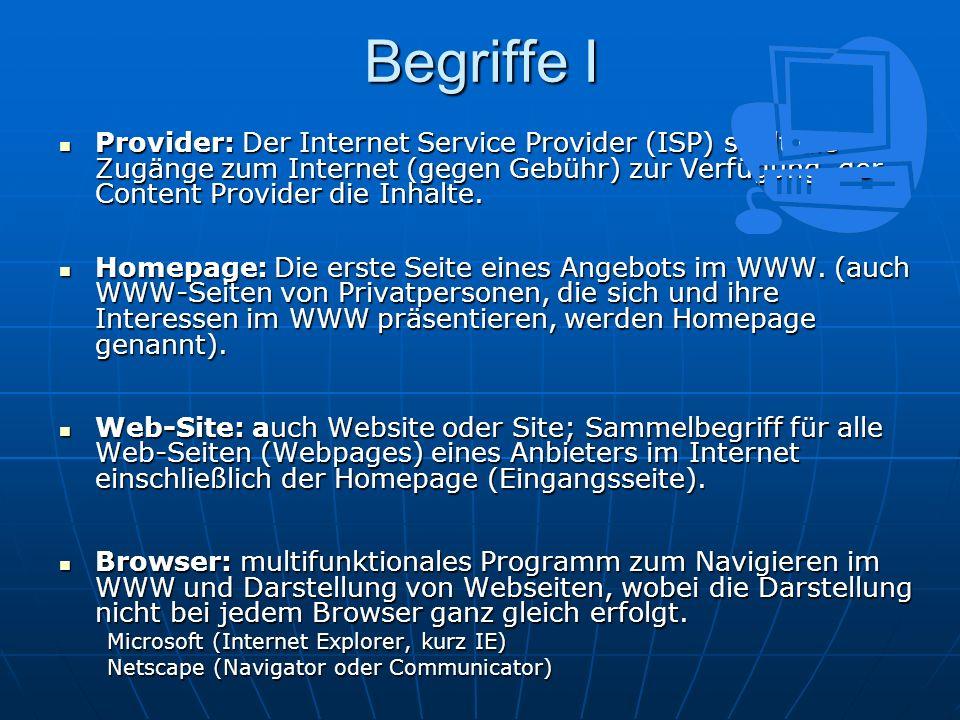 Begriffe I Provider: Der Internet Service Provider (ISP) stellt die Zugänge zum Internet (gegen Gebühr) zur Verfügung, der Content Provider die Inhalt