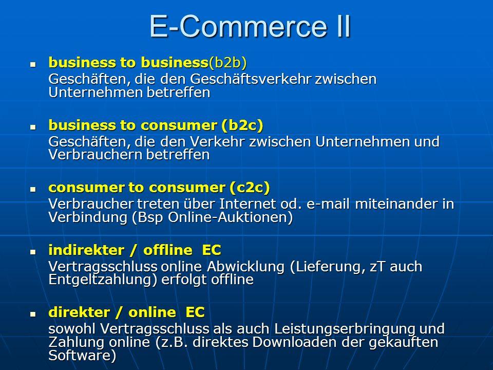 E-Commerce II business to business(b2b) business to business(b2b) Geschäften, die den Geschäftsverkehr zwischen Unternehmen betreffen business to cons