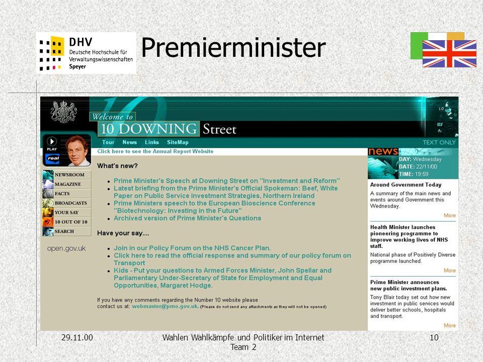 29.11.0010Wahlen Wahlkämpfe und Politiker im Internet Team 2 Premierminister http://www.number-10.gov.uk