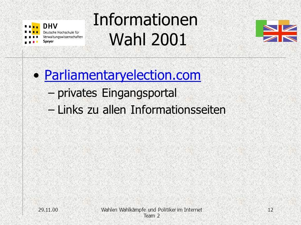 29.11.0012Wahlen Wahlkämpfe und Politiker im Internet Team 2 Informationen Wahl 2001 Parliamentaryelection.com –privates Eingangsportal –Links zu allen Informationsseiten