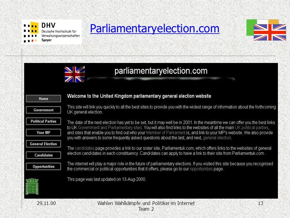 29.11.0013Wahlen Wahlkämpfe und Politiker im Internet Team 2 Parliamentaryelection.com