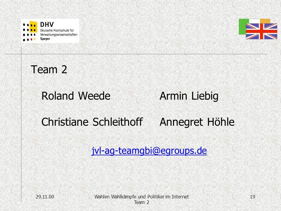 29.11.0019Wahlen Wahlkämpfe und Politiker im Internet Team 2 Team 2 Roland Weede Christiane Schleithoff Armin Liebig Annegret Höhle jvl-ag-teamgbi@egroups.de