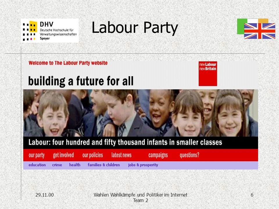 29.11.006Wahlen Wahlkämpfe und Politiker im Internet Team 2 Labour Party