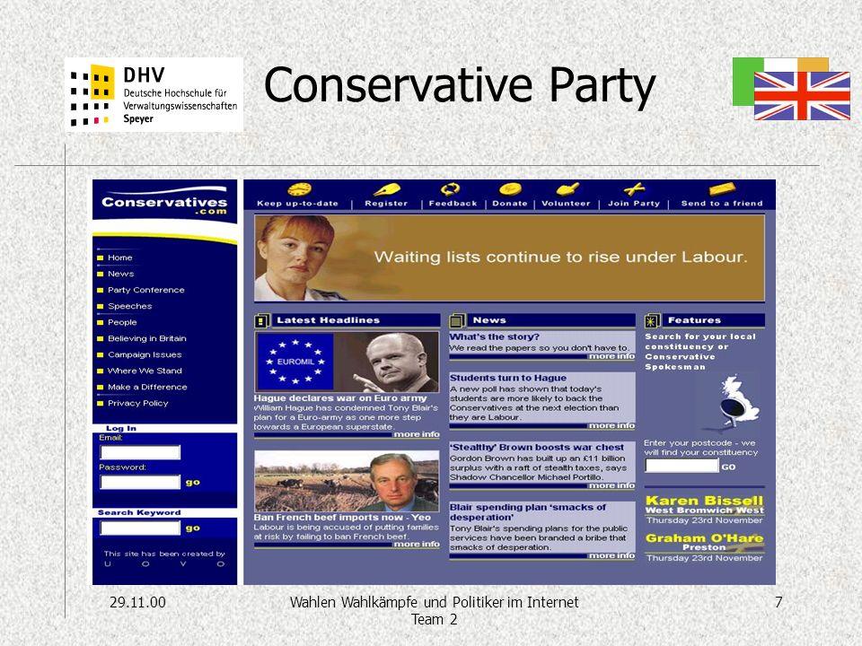 29.11.007Wahlen Wahlkämpfe und Politiker im Internet Team 2 Conservative Party