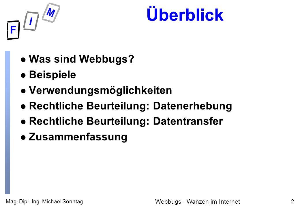 Mag. Dipl.-Ing. Michael Sonntag2 Webbugs - Wanzen im Internet Überblick l Was sind Webbugs.