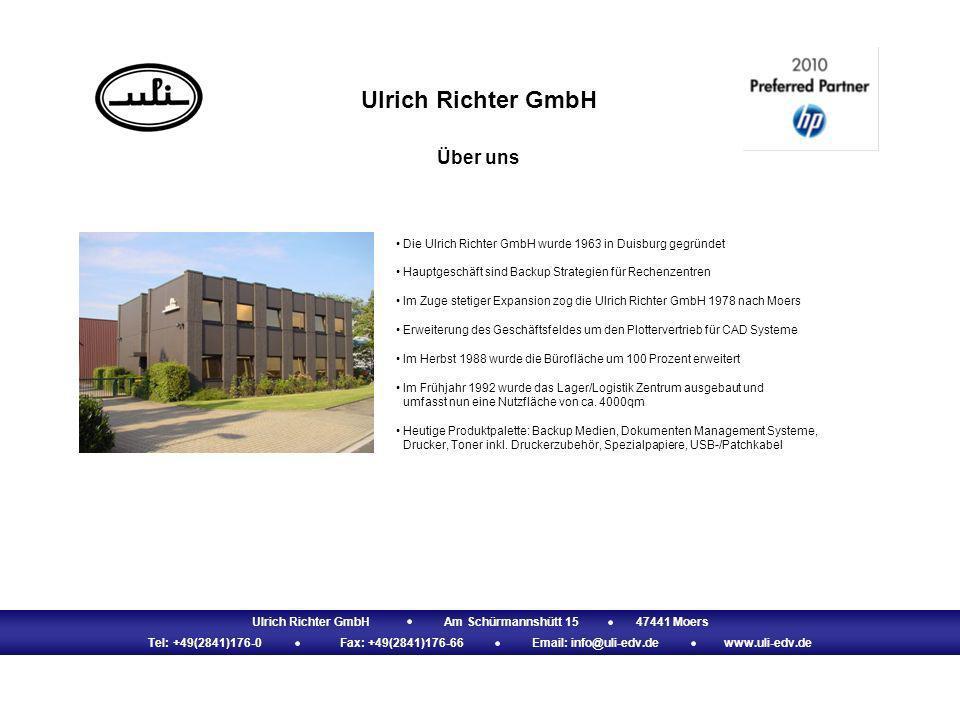Ulrich Richter GmbH Über uns Ulrich Richter GmbHAm Schürmannshütt 1547441 Moers Tel: +49(2841)176-0Fax: +49(2841)176-66Email: info@uli-edv.dewww.uli-e