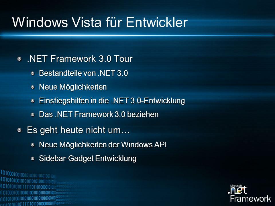 .NET Framework 3.0 Tour Bestandteile von.NET 3.0 Neue Möglichkeiten Einstiegshilfen in die.NET 3.0-Entwicklung Das.NET Framework 3.0 beziehen Es geht heute nicht um… Neue Möglichkeiten der Windows API Sidebar-Gadget Entwicklung Windows Vista für Entwickler