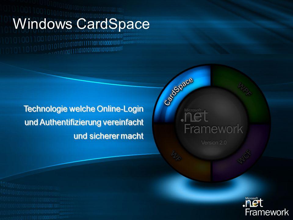 Windows CardSpace Technologie welche Online-Login und Authentifizierung vereinfacht und sicherer macht