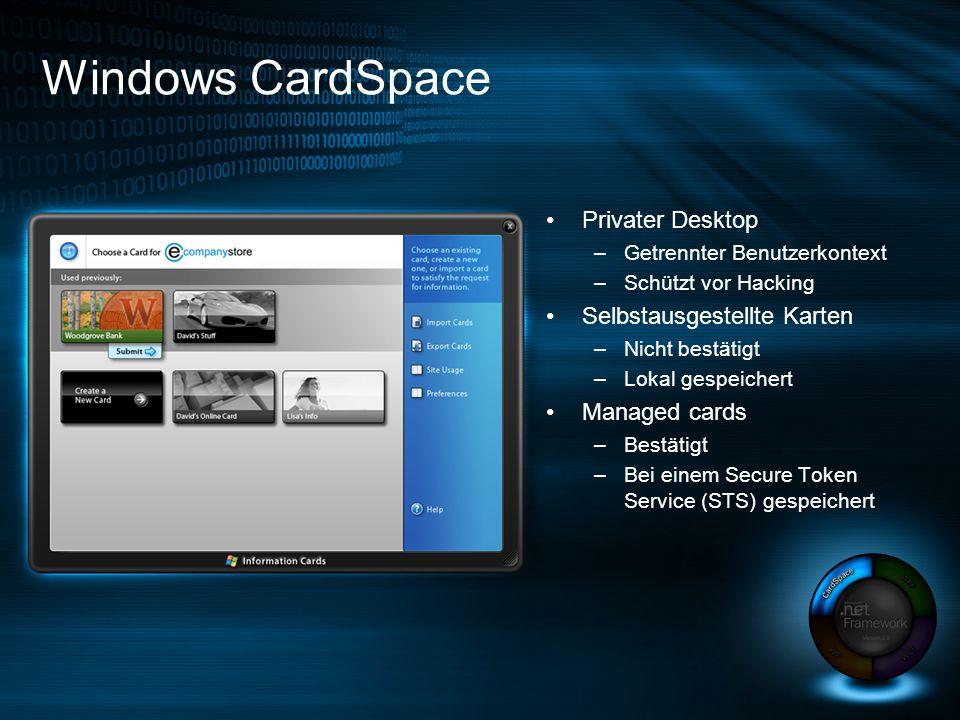 Privater Desktop –Getrennter Benutzerkontext –Schützt vor Hacking Selbstausgestellte Karten –Nicht bestätigt –Lokal gespeichert Managed cards –Bestätigt –Bei einem Secure Token Service (STS) gespeichert