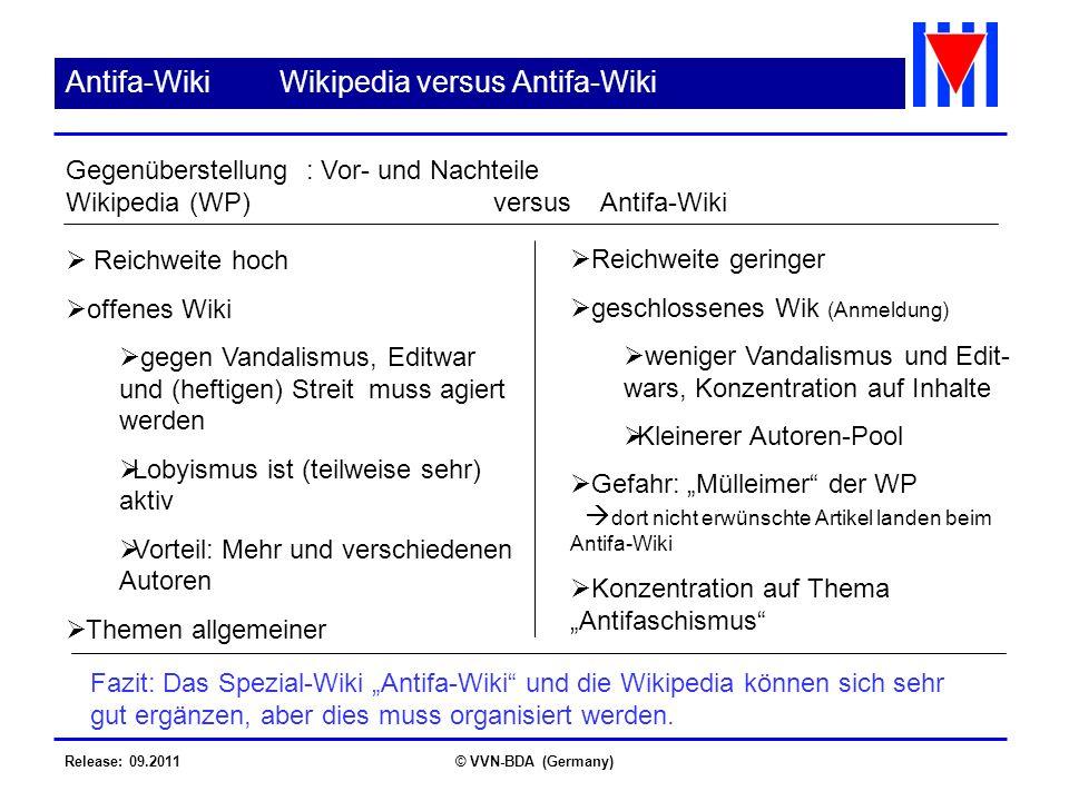 Release: 09.2011© VVN-BDA (Germany) Antifa-WikiWikipedia versus Antifa-Wiki Gegenüberstellung : Vor- und Nachteile Wikipedia (WP)versusAntifa-Wiki Rei
