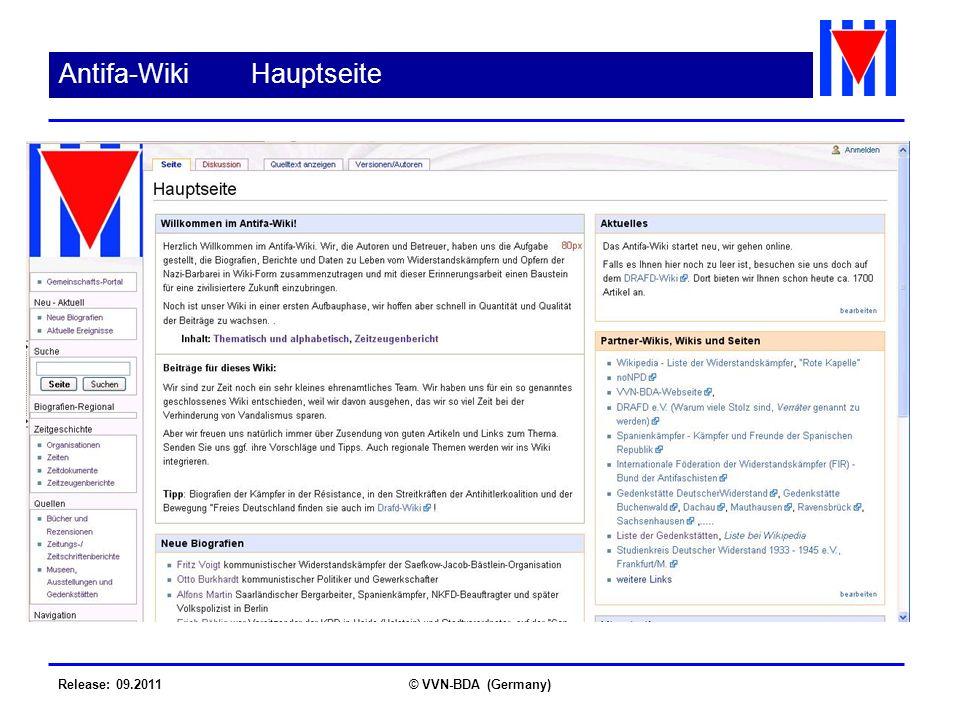 Release: 09.2011© VVN-BDA (Germany) Antifa-Wiki Hauptseite