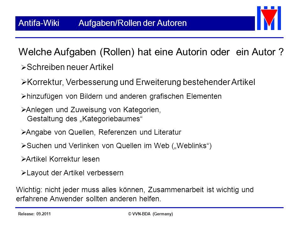 Release: 09.2011© VVN-BDA (Germany) Antifa-WikiAufgaben/Rollen der Autoren Schreiben neuer Artikel Korrektur, Verbesserung und Erweiterung bestehender