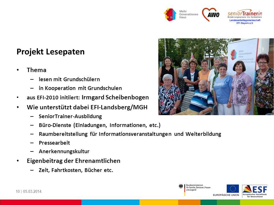 Projekt Lesepaten Thema – lesen mit Grundschülern – in Kooperation mit Grundschulen aus EFI-2010 initiiert: Irmgard Scheibenbogen Wie unterstützt dabe