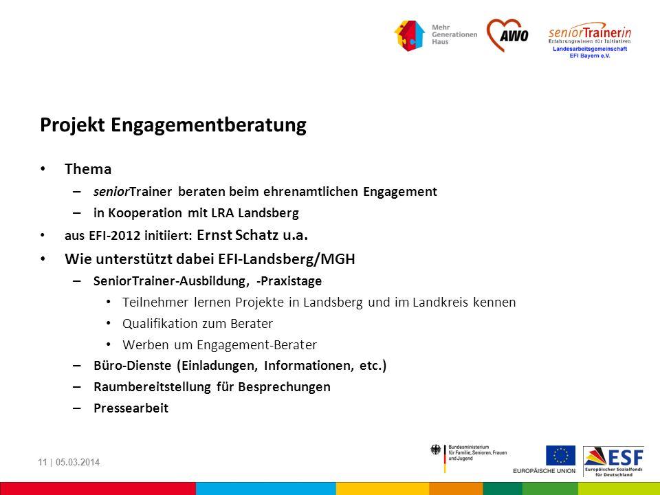 Projekt Engagementberatung Thema – seniorTrainer beraten beim ehrenamtlichen Engagement – in Kooperation mit LRA Landsberg aus EFI-2012 initiiert: Ern