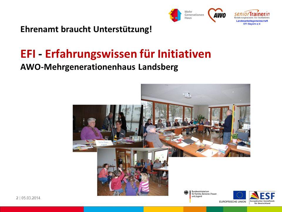 Um dieses Projekt EFI-Landsberg weiterführen zu können … Ausbildung zum SeniorTrainer Initiierung und Begleitung von Projekten Vernetzung … bitten wir um Ihre finanzielle Unterstützung 13 | 05.03.2014