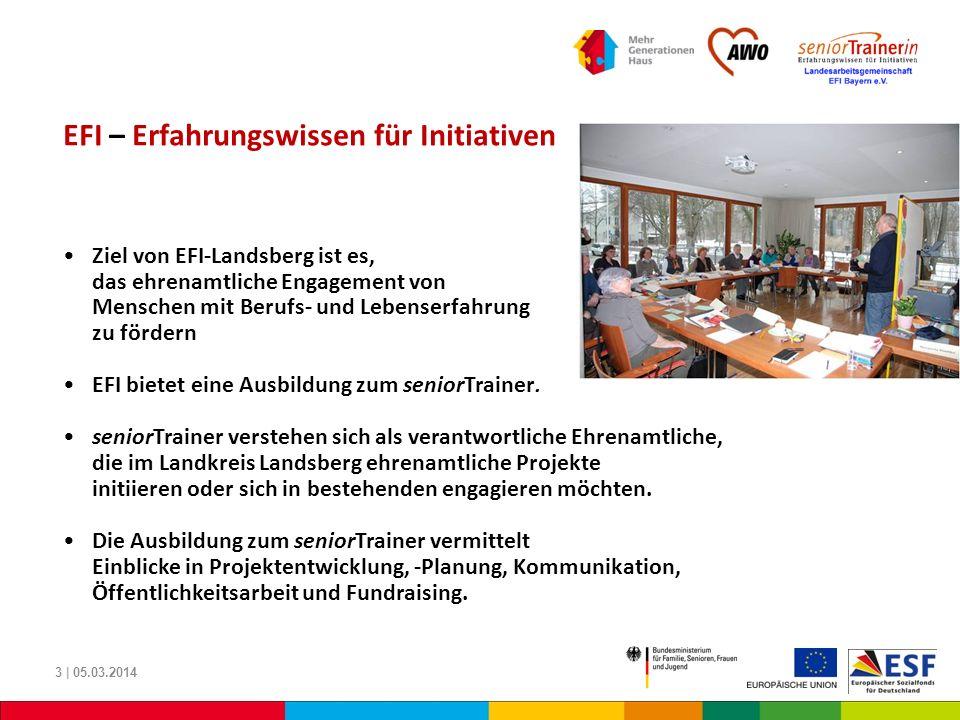 EFI – Erfahrungswissen für Initiativen Ziel von EFI-Landsberg ist es, das ehrenamtliche Engagement von Menschen mit Berufs- und Lebenserfahrung zu för