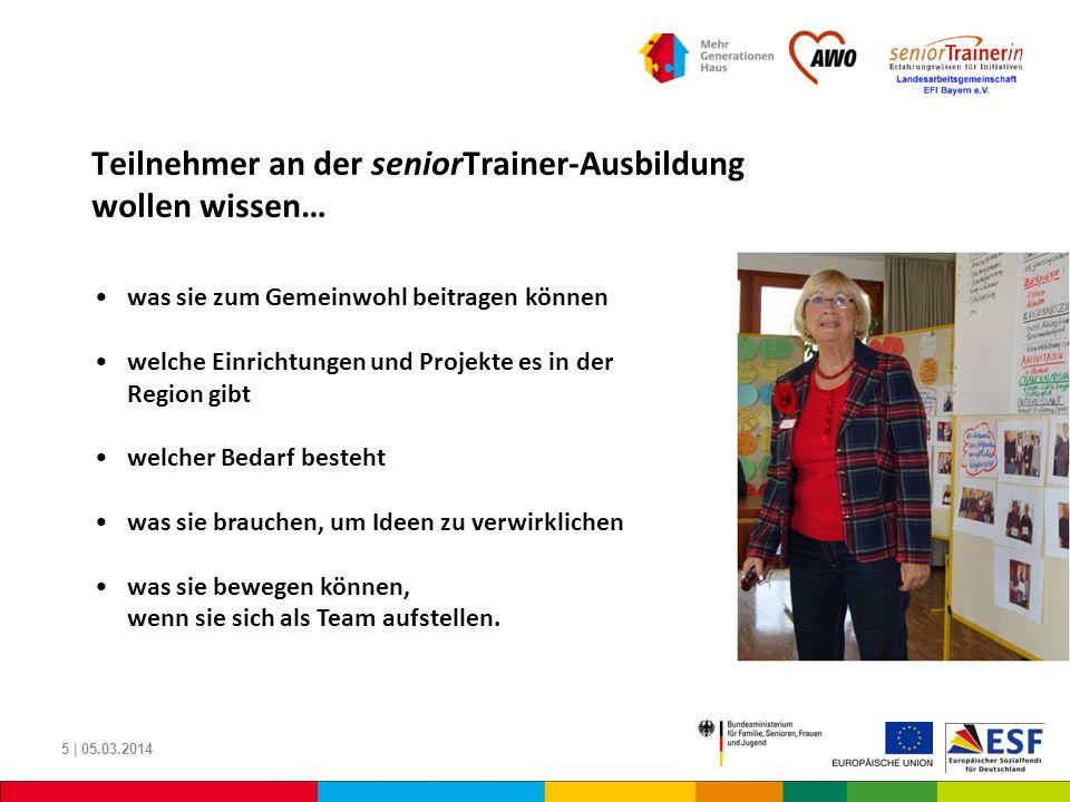 Teilnehmer an der seniorTrainer-Ausbildung wollen wissen… 5 | 05.03.2014 was sie zum Gemeinwohl beitragen können welche Einrichtungen und Projekte es