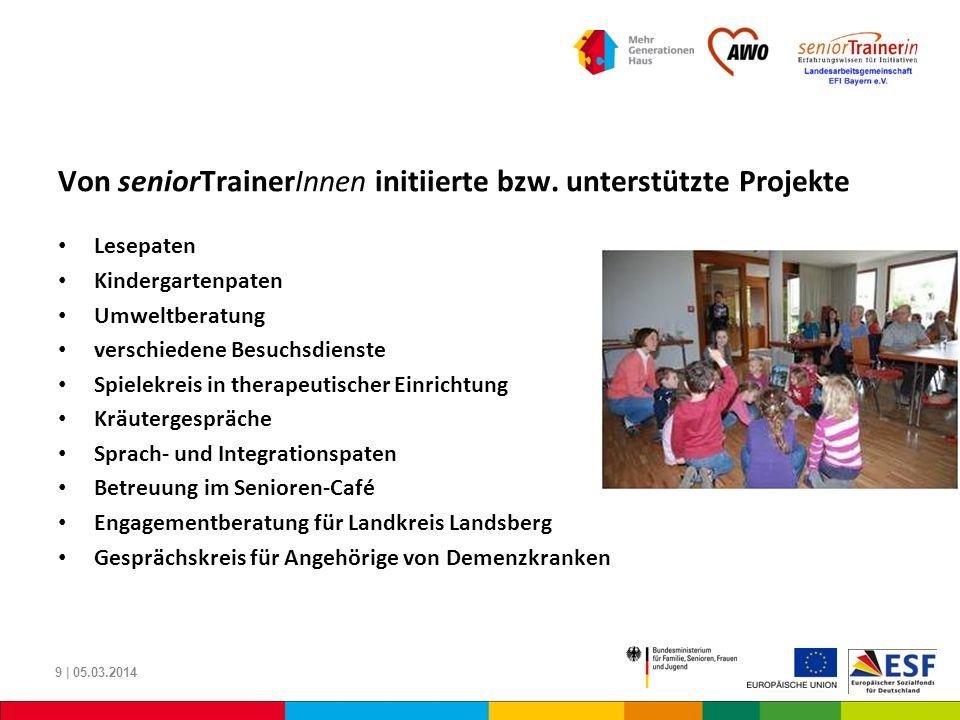 Von seniorTrainerInnen initiierte bzw. unterstützte Projekte Lesepaten Kindergartenpaten Umweltberatung verschiedene Besuchsdienste Spielekreis in the