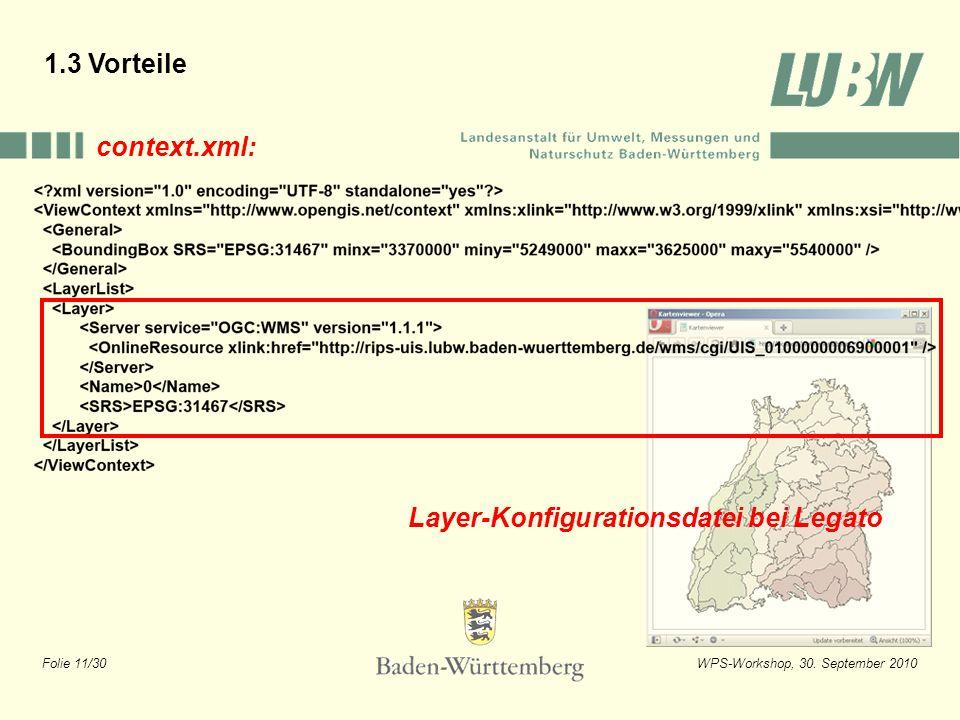 Folie 11/30WPS-Workshop, 30. September 2010 Layer-Konfigurationsdatei bei Legato context.xml: 1.3 Vorteile