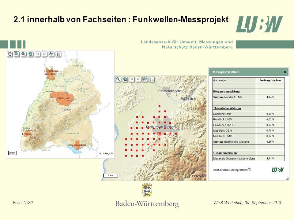 Folie 17/30WPS-Workshop, 30. September 2010 2.1 innerhalb von Fachseiten : Funkwellen-Messprojekt