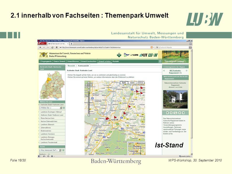 Folie 18/30WPS-Workshop, 30. September 2010 2.1 innerhalb von Fachseiten : Themenpark Umwelt Ist-Stand